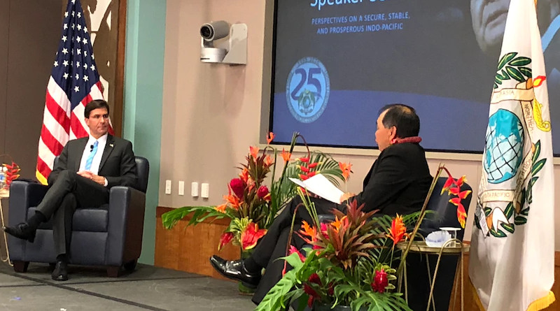 Defense Secretary Dr. Mark T. Esper discusses a free and open Indo-Pacific during a talk at the Asia Pacific Center for Security Studies in Honolulu, Aug. 27, 2020. Photo Credit: Jim Garamone, DOD