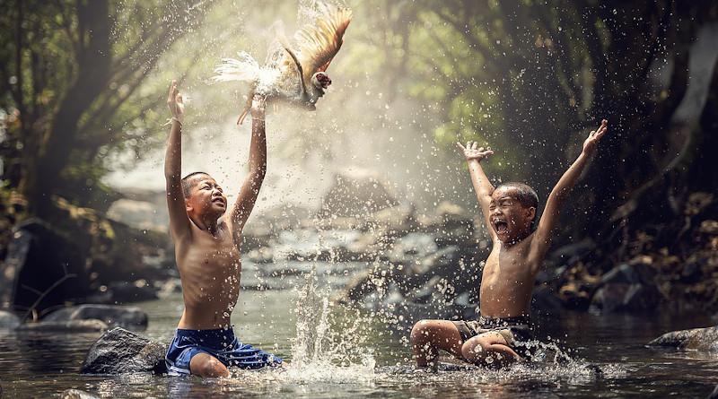 Malaysia Asia Children River Birds Splash Water Boys Animals