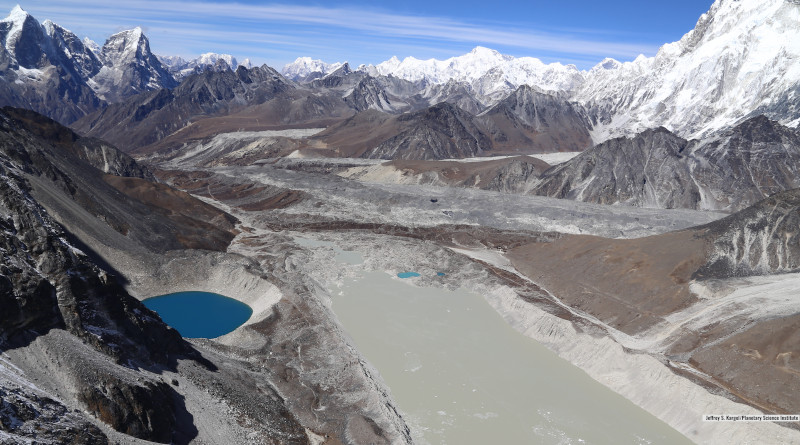 Lake Imja near Mount Everest in the Himalaya is a glacier lake that has grown to three times its length since 1990. Credits: Planetary Science Institute/Jeffrey S. Kargel
