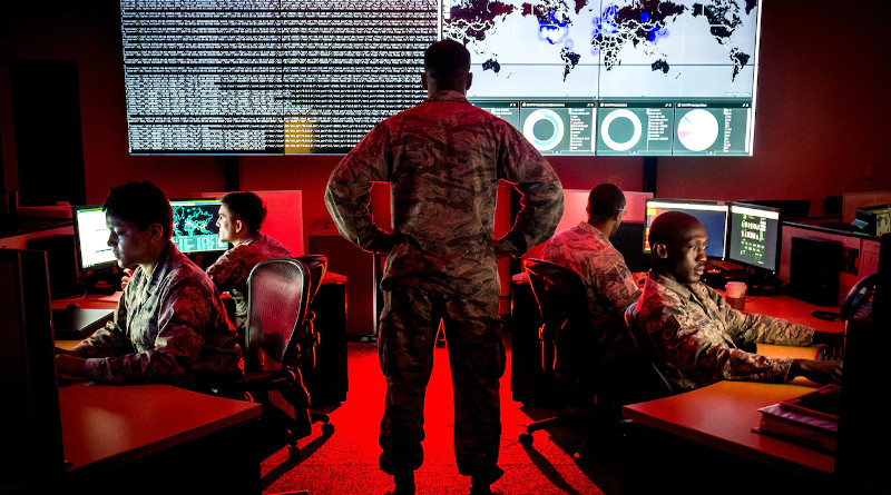 Personnel with the 175th Cyberspace Operations Group conduct cyber operations at Warfield Air National Guard Base, Middle River, Md., June 3, 2017. Photo Credit: J.M. Eddins Jr., Air Force