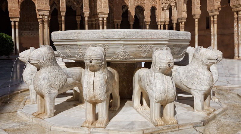 Spain Lion Fountain Alhambra Building Antique Granada