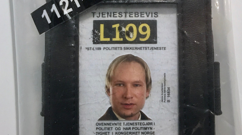 Norwegian terrorist Anders Behring Breivik's fake police ID (forged police identification card). Photo Credit: Wolfmann, Wikipedia Commons
