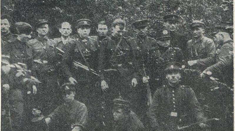 Members of the Lithuanian partisans (Žalgiris Territorial Defense Force) in the summer of 1946. Photo Credit: Unknown author, Wikipedia Commons