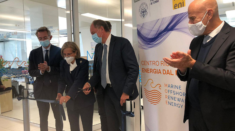 MORE – Marine Offshore Renewable Energy Lab, a joint research laboratory developed by Politecnico di Torino and Eni, is opened in the presence of the Minister of Universities and Scientific Research, Gaetano Manfredi, Eni's President Lucia Calvosa, Eni's CEO, Claudio Descalzi, and the Rector of the Politecnico, Guido Saracco. Photo Credit: Eni