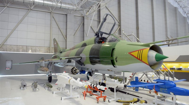 Iran's Islamic Revolution Guards Corps Aerospace Force unveils the first homegrown air-to-surface guided rocket designed to be launched from its Sukhoi Su-22 fighter bombers. Photo Credit: Tasnim News Agency