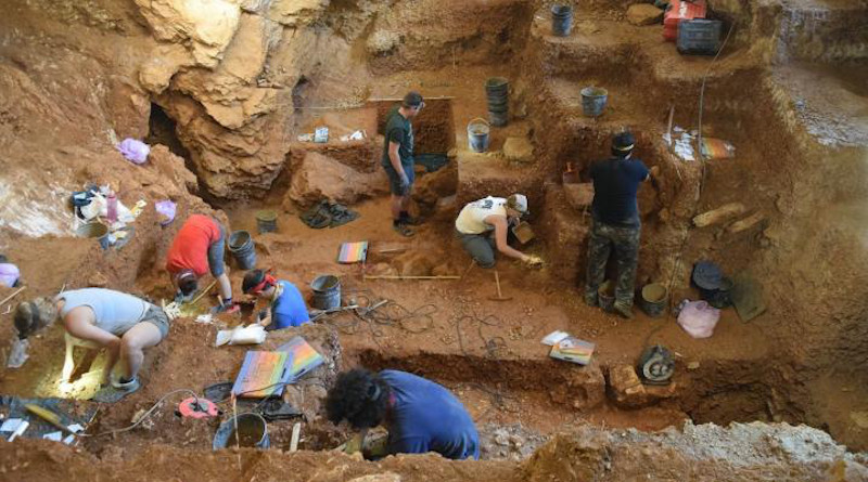 View of the excavation of the early modern human (foreground) and Neanderthal layers (background) of Lapa do Picareiro. CREDIT: Photo by Jonathan Haws