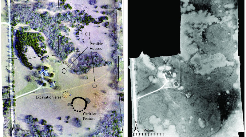 Left: Drone-acquired orthoimage of the site showing major features discussed in the paper. Right: Thermal images mosaic collected from 11:15 pm-12:15 am. (Images from Figure 6 of the study). CREDIT: Images by Jesse Casana, Elise Jakoby Laugier, and Austin Chad Hill