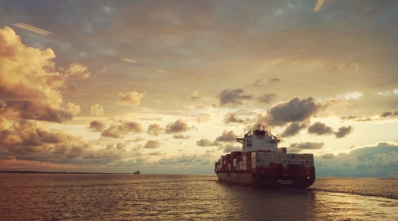 Freight Trade Container Ship Sea Sunset Clouds Water Evening Sun Compass