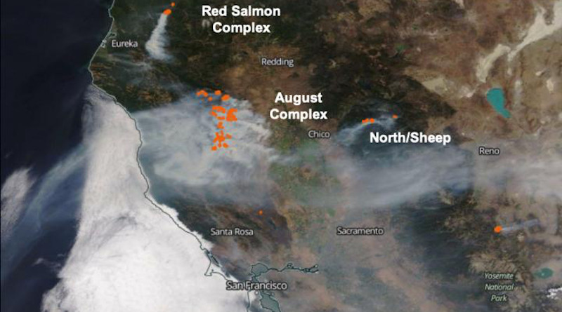 On Aug. 31, MODIS detected several hotspots in the August Complex Fire in California, as well as several other actively burning areas to the north, west, and south. CREDIT: R. Kahn/K.J. Noyes/NASA Goddard/A. Nastan/JPL Caltech/J. Tackett/J-P Vernier/NASA Langley