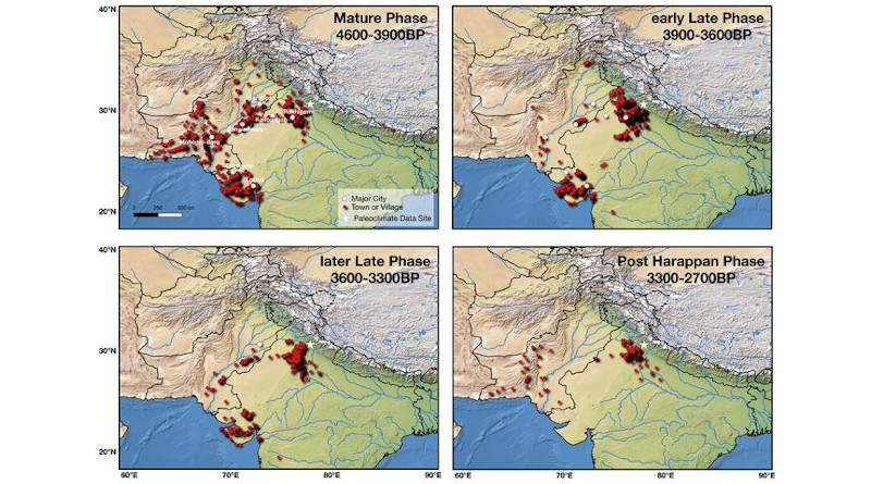 This figure shows the settlements of the Indus Valley Civilization during different phases of its evolution. RIT Assistant Professor Nishant Malik developed a mathematical method that shows climate change likely caused the rise and fall of the ancient civilization. CREDIT: RIT
