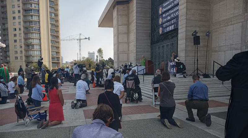Catholics worship at a Mass outside the Cathedral of St. Mary of the Assumption on Sept. 20, 2020. Courtesy of the archdiocese of San Francisco