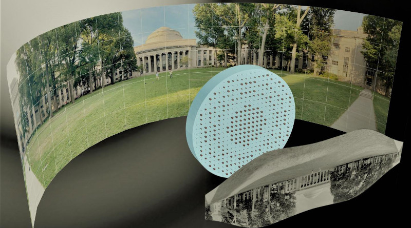 """3D artistic illustration of the wide-field-of-view metalens capturing a 180° panorama of MIT's Killian Court and producing a high-resolution monochromatic flat image."""" CREDIT: Mikhail Shalaginov, Tian Gu, Christine Daniloff, Felice Hankel, Juejun Hu"""
