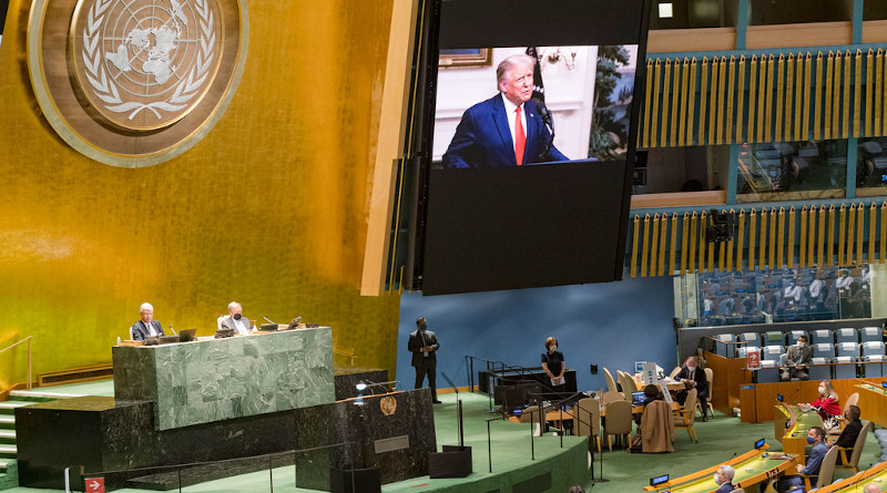 US President Donald Trump addresses the 75th session of the United Nations General Assembly. Photo Credit: Rick Bajornas, UN Photo