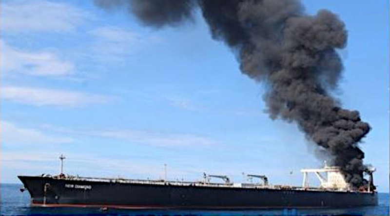 "Panama-flagged tanker ""MT New Diamond"" ablaze offshore Sri Lanka. Photo Credit: Sri Lanka government"