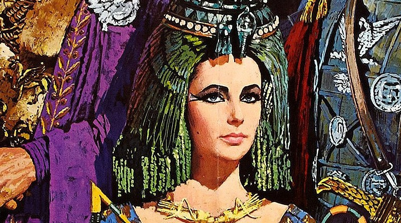 Detail of Elizabeth Taylor in theatrical poster for the film Cleopatra (1963). Credit: Wikipedia Commons