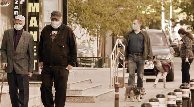 Coronavirus covid-19 People Going The Sidewalk The Masks The Pandemic