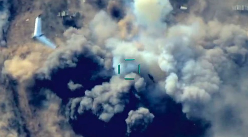 Screenshot from video released by Azerbaijan's Defense Ministry of an unmanned aerial vehicle (drone) over a site where Azerbaijan's forces are allegedly attacking Armenian military positions. Credit: Azerbaijan Defense Ministry