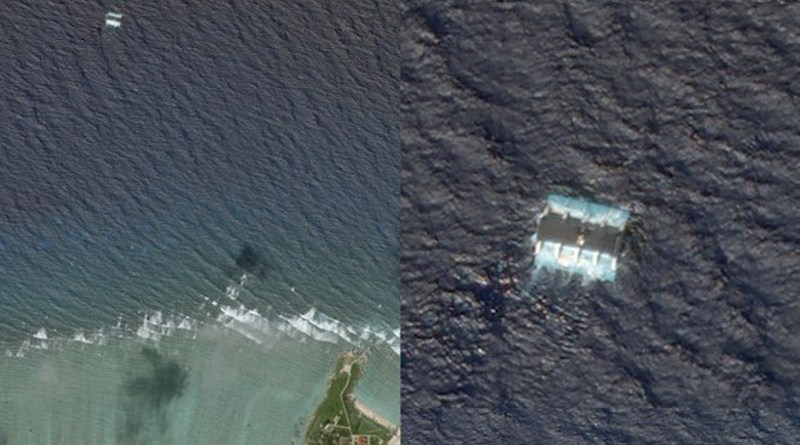 An Oct. 5 satellite imagery appears to show a wave power generator off Woody Island, China's main base in the disputed Paracel Islands. On the left, a wide shot shows the location of the generator, about a mile north of the island; on the right, a closer view of the generator. Planet Labs Inc.