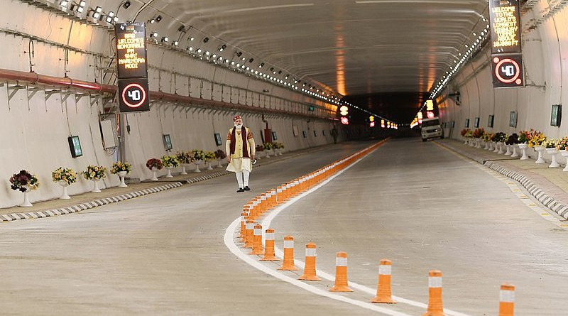 The Prime Minister, Shri Narendra Modi in the World's longest Highway tunnel - Atal Tunnel, in Manali, Himachal Pradesh on October 03, 2020. Photo Credit: Prime Minister's Office