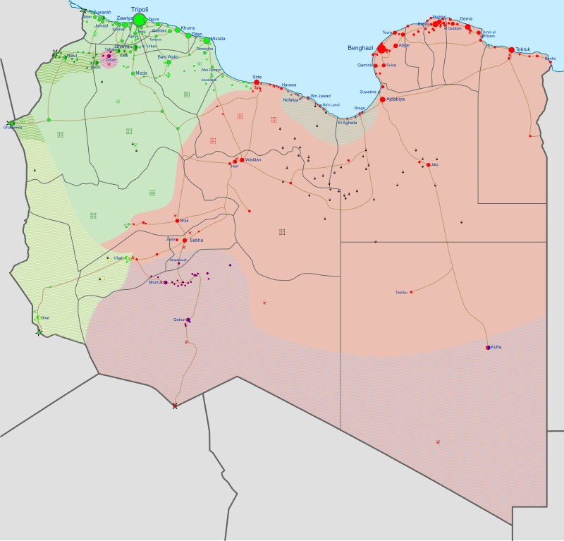 Military situation in Libya on June 11, 2020. Pink areas under the control of the House of Representatives and the Libyan National Army. Green areas under the control of the Government of National Accord (GNA) and different militias forming the Libya Shield Force. Credit: Wikipedia Commons