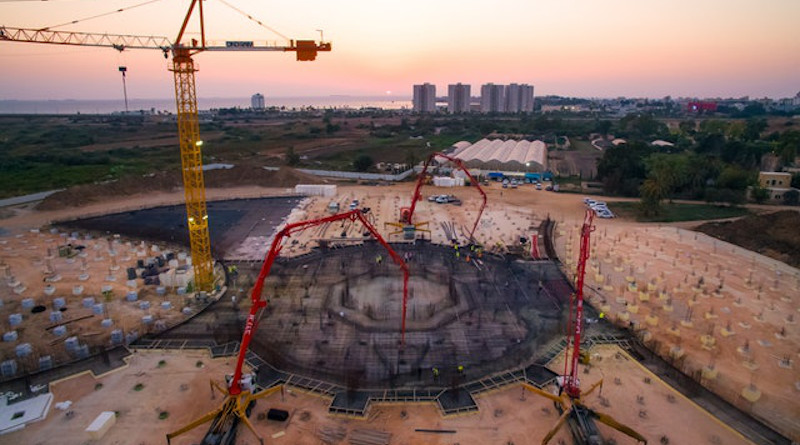With an overnight concrete pour, a platform across an area of 2,900 square meters was recently cast at the center of the site for the Shrine of 'Abdu'l-Bahá, bringing the central foundation work to completion. Photo Credit: BWNS