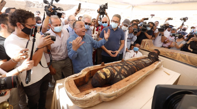 Archaeologists in Egypt have announced one of the most dramatic finds in decades after 59 sealed sarcophagi were uncovered from the ancient necropolis of Saqqara, outside Cairo. (AN Photo/Mohamed Mosaad)