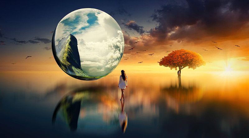 Life Outer Space Woman Tree Birds Mountains Lake Planet Reflection