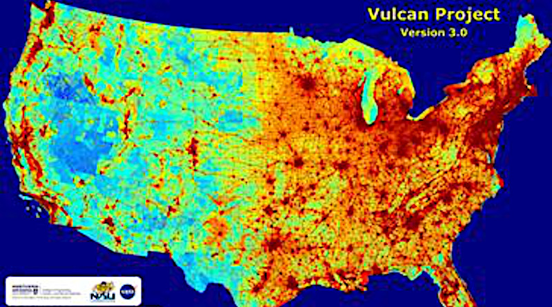 Emissions map of entire U.S. landscape at high space- and time-resolution with details on economic sector, fuel and combustion process. CREDIT: Courtesy Northern Arizona University
