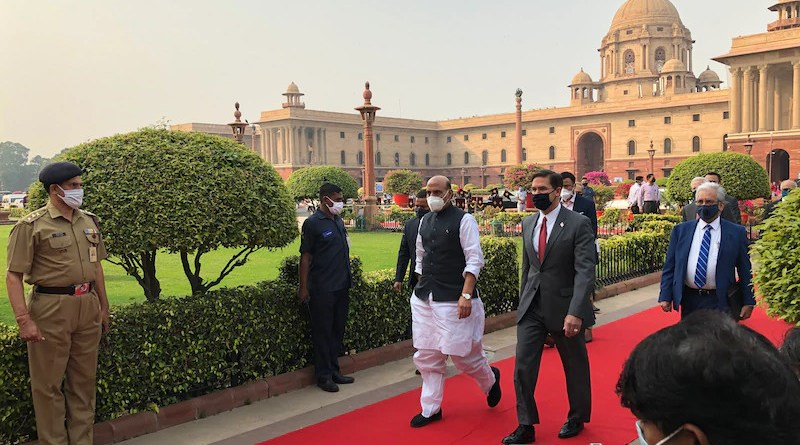 Indian Defense Minister Rajnath Singh escorts Defense Secretary Dr. Mark T. Esper to talks in the Ministry of Defense in New Delhi, Oct. 26. 2020. Photo Credit: Jim Garamone, DOD