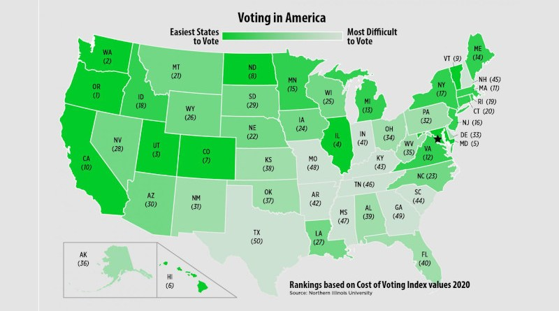 A graphic ranking of ease of vote across the United States. CREDIT: Northern Illinois University