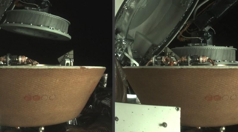 The left image shows the OSIRIS-REx collector head hovering over the Sample Return Capsule (SRC) after the Touch-And-Go Sample Acquisition Mechanism arm moved it into the proper position for capture. The right image shows the collector head secured onto the capture ring in the SRC. Both images were captured by the StowCam camera. Credits: NASA/Goddard/University of Arizona/Lockheed Martin