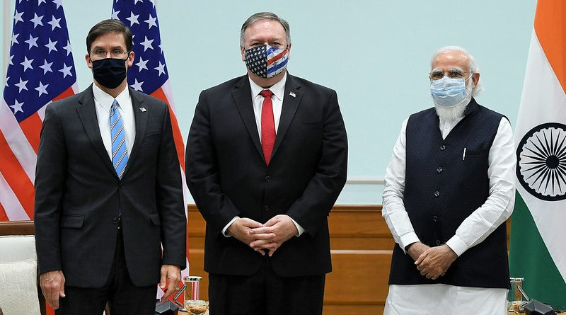Secretary of State Michael R. Pompeo and Secretary of Defense Mark Esper meet with Indian Prime Minister Narendra Modi, in New Delhi, India, on October 27, 2020. [Photo Courtesy Office of the Prime Minister of India]