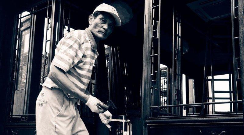 Man Painter Worker River Village China Craftsman