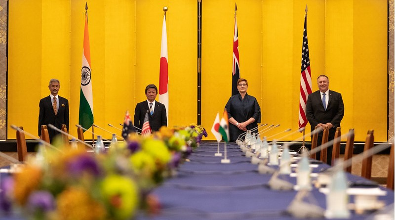 Secretary of State Michael R. Pompeo participates in a Quad Meeting with Australian Foreign Minister Marise Payne, Japanese Foreign Minister Toshimitsu Motegi, and Indian External Affairs Minister Dr. Subrahmanyam Jaishankar, in Tokyo, Japan on October 6, 2020. [State Department Photo by Ron Przysucha/ Public Domain]