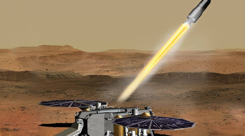 This illustration shows a concept of how the NASA Mars Ascent Vehicle, carrying tubes containing rock and soil samples, could be launched from the surface of Mars in one step of the Mars sample return mission. Credits: NASA/JPL-Caltech