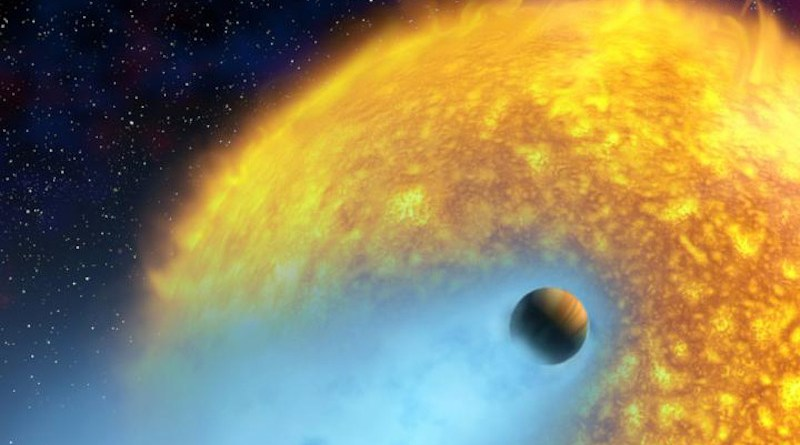 An artist's conception of HD 209458 b, an exoplanet whose atmosphere is being torn off at more than 35,000 km/hour by the radiation of its close-by parent star. This hot Jupiter was the first alien world discovered via the transit method, and the first planet to have its atmosphere studied. CREDIT NASA/European Space Agency/Alfred Vidal-Madjar (Institut d'Astrophysique de Paris, CNRS)
