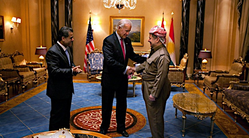 Vice President Joe Biden thanks Kurdish Regional Government President Masoud Barzani following their bilateral meeting and dinner at the Kurdish White House guest house in Irbil, Iraq, Jan. 13, 2011. (Official White House Photo by David Lienemann)