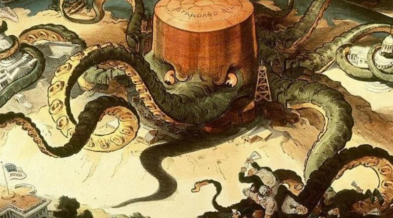 Artist Udo J. Keppler's visualization of the long reach of John D. Rockefeller and his mega company, Standard Oil.