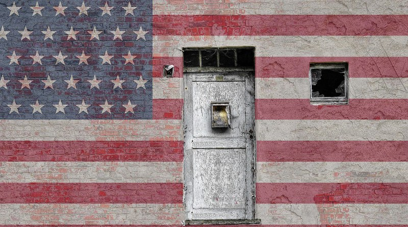usa united states American Flag Door Vintage Bricks Wall