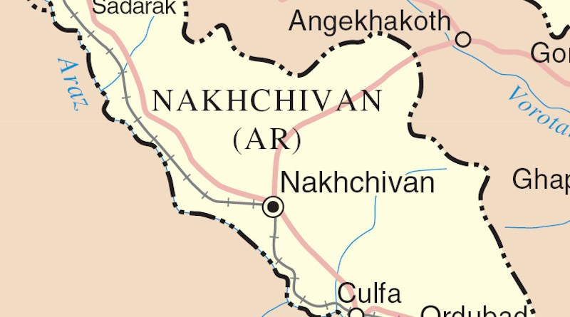 Detail of map of Nakhchivan Autonomous Republic, the landlocked exclave of the Republic of Azerbaijan. Credit: Wikipedia Commons