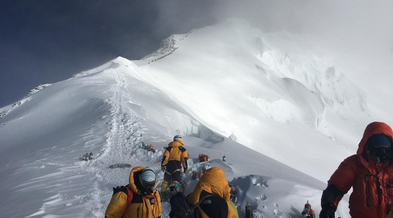 High-elevation climbers and Sherpa at the Balcony during the National Geographic and Rolex Perpetual Planet Everest Expedition CREDIT: Baker Perry, National Geographic