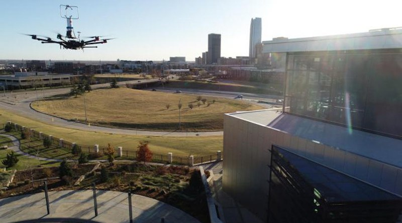 A team from Oklahoma State University attached sensors to robotic aircraft to take more cohesive measurements of building wakes, or the disturbed airflow around buildings. CREDIT: Jamey Jacob