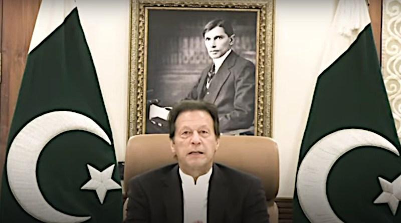 Pakistan's Prime Minister Imran Khan holds virtual meeting with Global CEOs. Photo Credit: Screenshot World Economic Forum