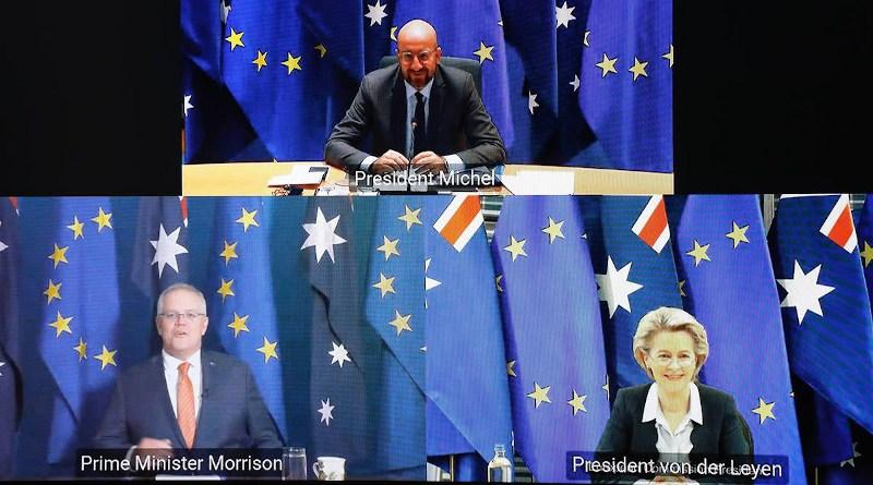 EU-Australia leaders' meeting via video conference, November 26, 2020. Credit: European Council