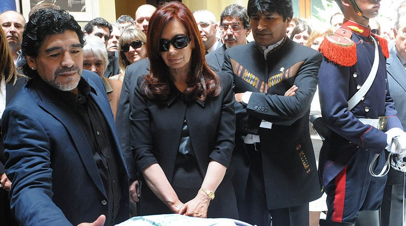 Maradona, then-president Cristina Fernández de Kirchner and Evo Morales, at the funeral of former President of Argentina Néstor Kirchner, 28 October 2010. Photo Credit: Casa Rosada (Argentina Presidency of the Nation), Wikipedia Commons