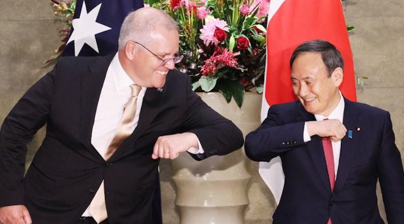Australia's Prime Minister Scott Morrison and Japanese Prime Minister Yoshihide Suga. Photo Credit: Japan PM Office