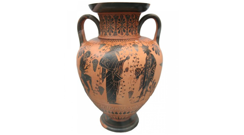 Greek vase from Attika c. 550 - 520 BCE. Dionysos talking with Hermes amidst grape vines and a dancing silenus on the left side. CREDIT: User:MatthiasKabel, CC BY-SA 3.0, via Wikimedia Commons
