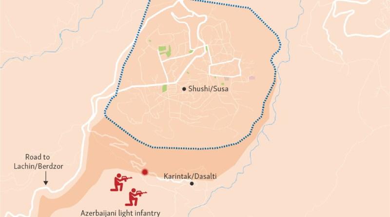 Azerbaijani forces close in on Nagorno-Karabakh's fortress city of Shushi/Susa. Credit: RFE/RL