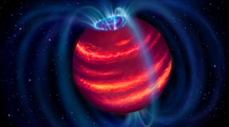 Artist's impression of the cold brown dwarf BDR J1750+3809. The blue loops depict the magnetic field lines. Charged particles moving along these lines emit radio waves that LOFAR detected. Some particles eventually reach the poles and generate aurorae similar to the northern lights on Earth. CREDIT: ASTRON/Danielle Futselaar