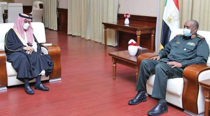 Saudi Arabia's Foreign Minister Prince Faisal bin Farhan holds talks with Lt. Gen. Abdul-Fattah Al-Burhan, president of Sudan's Transitional Sovereignty Council. (SPA)